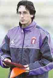 Unai Emery entrenando al Lorca Deportiva
