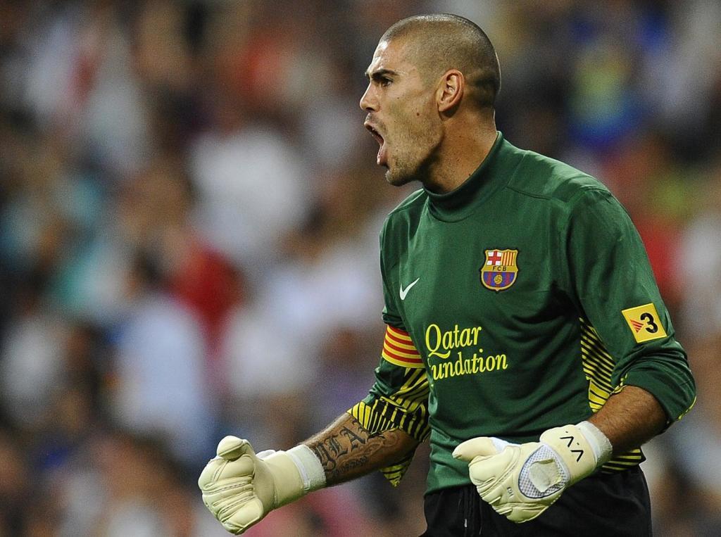 Víctor Valdés celebra parada Barcelona