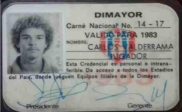 Carnet de Carlos Valderrama cuando militaba en el Unión Magdalena