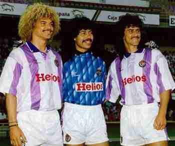 Carlos Valderrama, René Higuita y Leonel Álvarez. El trío de colombianos del Valladolid en la temporada 91/92