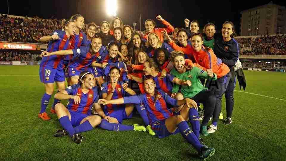 La plantilla, celebrando el pase a semifinales (FCBarcelona)