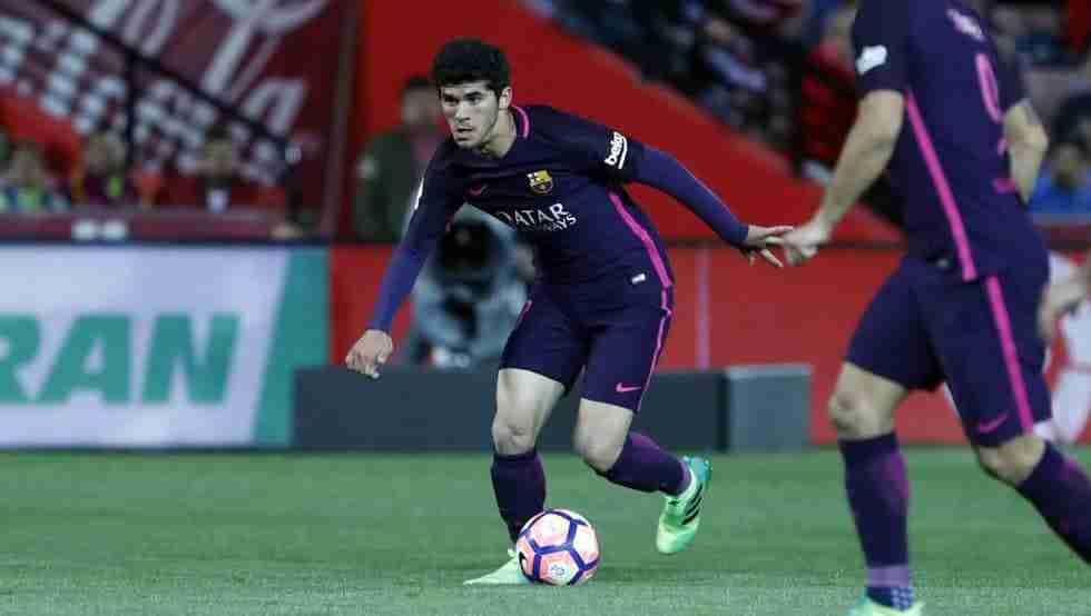 Aleñá, debutando en Liga en Granada (FCBarcelona)