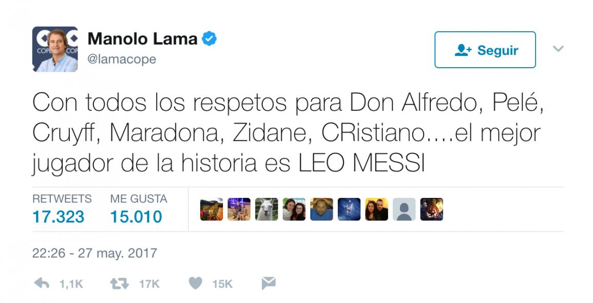 Tweet de Manolo Lama sobre Messi