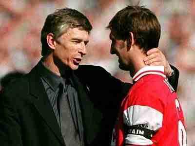 Arsène Wenger con Tony Adams