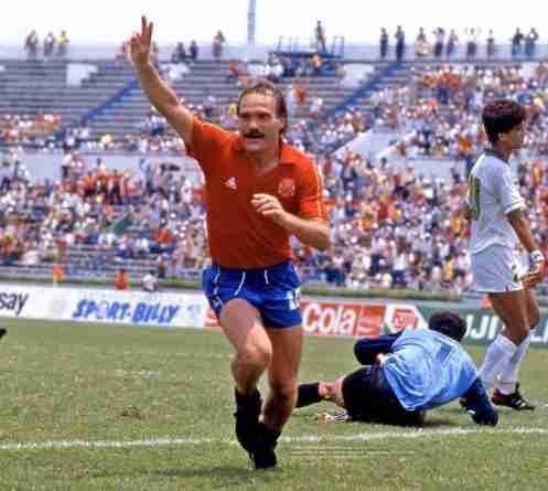 Ramón Calderé celebra gol ante Argelia Mundial México 1986