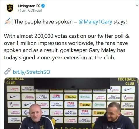 tweet renovación Gary Maley Livingston