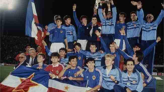 Yugoslavia celebra campeonato del Mundo Sub 21 Chile 1987