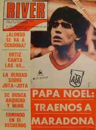 Portada de la revista de River Plate Papa Noel traenos a Maradona