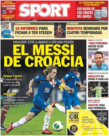 Portada diario Sport Alen Halilovic el Messi de Croacia