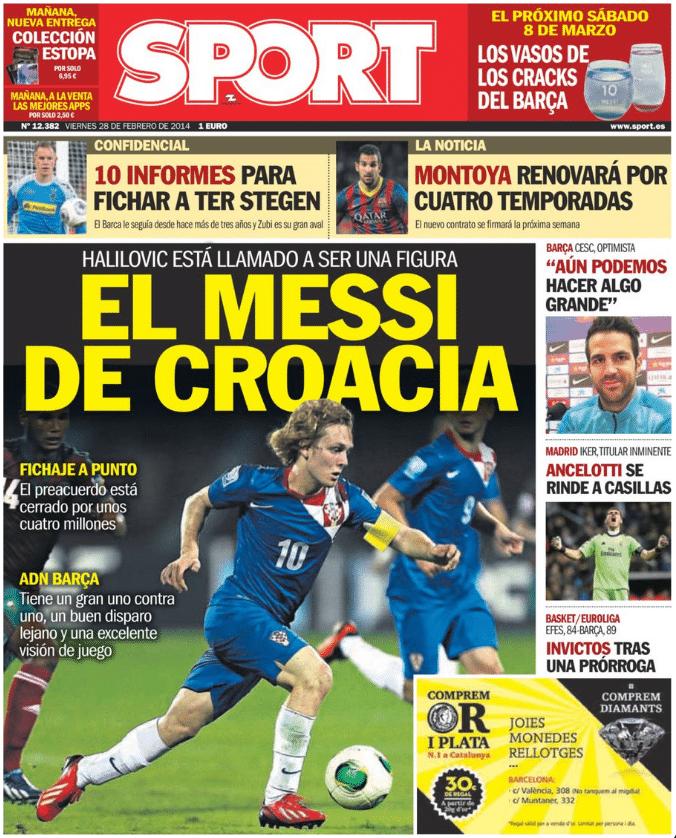Portada Diario Sport Halilovic el messi de Croacia