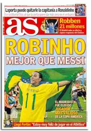 Portada diario As Robinho mejor que Messi