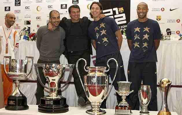 Joan Laporta, Guardiola e Ibrahimovic con el sextete