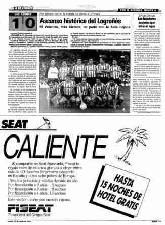 Noticia del ascenso del CD Logroñés en el diario Marca